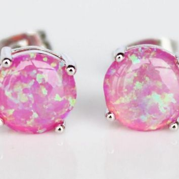 Beady Lucky Pink Opal Silver Earrings - 8 mm