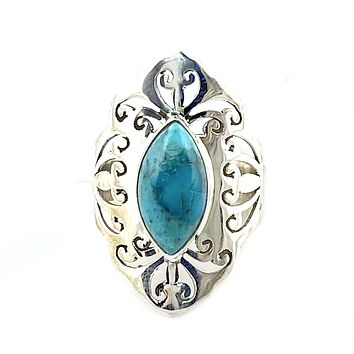 Turquoise Cut Out Filigree Sterling Silver Ring