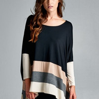 Colorblock Tunic With Dolman Sleeves