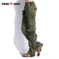 Large Size Cargo Pants Women Military Clothing Tactical Pants Multi-Pocket Cotton Joggers Sweatpants Army Green