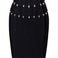 Black Stud Detail Bandage Skirt