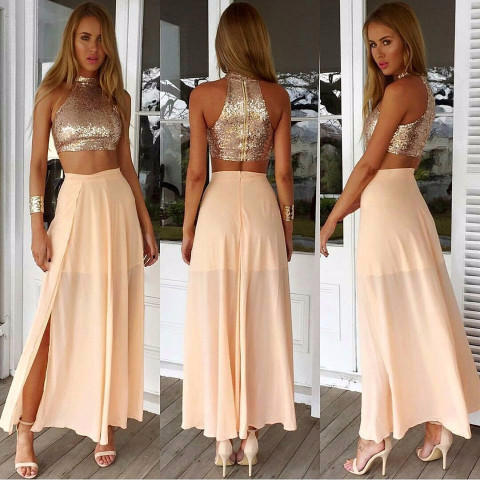 Image of Pink Sequin Maxi Two-Piece