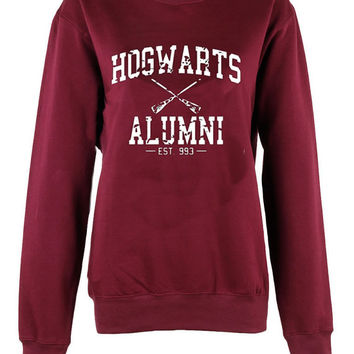 Harry Potter Hogwarts Alumni broom logo shirt womens ladies  print  sweatshirt