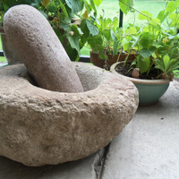 Large-Native American Stone Mortar and Pestle from Southern New Mexico