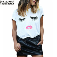 Zanzea New Arrival 2016 Summer Style Women Elegant Lashes Lip Print T Shirt Casual Loose Simple O Neck White Top Tees Blusas