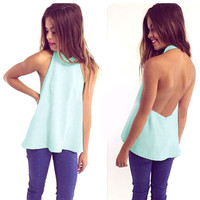 Plain Halter Open-Back Shirt
