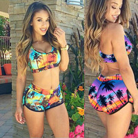 Floral Printed Women Erotic Sexy Bikini Swim Suit Beach Bathing Suits