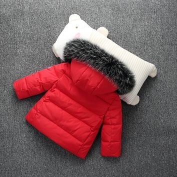 Winter Kids Solid Down Coat for Boys Girls Super Warm Duck Down Jacket Hooded Fur Children Outwear