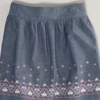 AEO 's Embroidered Chambray Skirt (Chambray Blue)