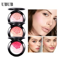 UBUB Rose Flower Baked Blusher Palette Sweet Charming Cheek 3 Colors Mineral Blush Face Foundation Contour Makeup Cream Powder