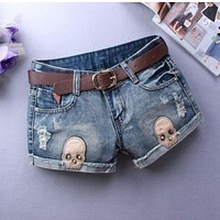 Women Denim Shorts Skull Print Casual Low Waist