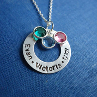 Mother Necklace With Children's Names & Birthstones Hand Stamped Silver Filled Washer Charm