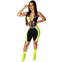 Women Sexy Neon Mesh Patchwork Sleeveless Jumpsuit Romper