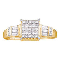 14KT Yellow Gold 0.51CTW DIAMOND LADIES RING WITH SQUARE PRINCESS CENTER