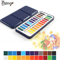 Bianyo 24Colors Portable Tin Box Solid Watercolor Paints Set For Artist School Student Drawing Painting Stationery Art Supplies