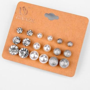 Pearls Rhinestone Earrings Korean Hot Sale Set [132684578836]