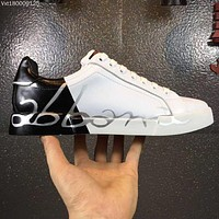 D & G Dolce & Gabbana Men's Leather Fashion Low Top Sneakers Shoes #173
