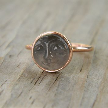 Man in the Moon 14k Rose Gold and Black moonstone by onegarnetgirl