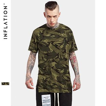 Summer Collection Camouflage Camo Shirt  Army Short Sleeve Extended Elongated T Shirt