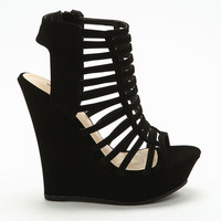 BLACK STRAPPY CUT OUT WEDGES