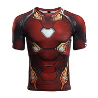 Raglan Sleeve Compression Shirts Avengers 3 Iron Man 3D Printed T shirts Men Summer NEW Cosplay Costume Top For MaleCloth
