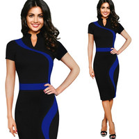 Womens Vintage Contrast Colorblock Slim Dress Wear To Work Office Pencil Dresses Business Party Bodycon Dress CF