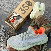 Adidas Yeezy 350 V2 fashion men and women low-top breathable casual sports shoes running shoes