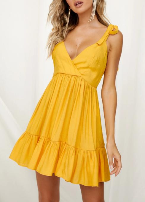 Image of New solid color bandage dress Ruffled backless sexy skirt
