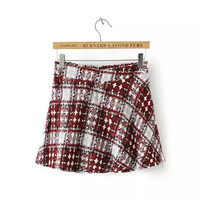 Plaid A-Line Knitted Mini Skirt