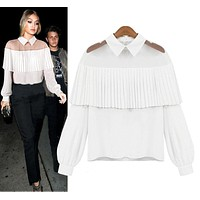 New Trendy Fashion Women's Tops Tee Long Sleeve Shirt Casual Blouse Loose Turn-Down Collar Shirts For Office Ladies