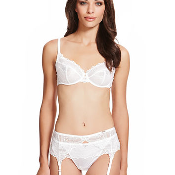Scallop Lace Non-Padded A-DD & Suspender Belt Set   M&S