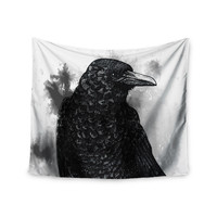 """Sophy Tuttle """"Crow"""" Black White Wall Tapestry"""