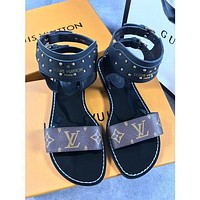 LV autumn and winter models open toe rivets women's fashion casual sandals