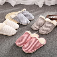 Couple Cotton Stripes Anti-skid Quiet Shoes Slippers [9067739460]