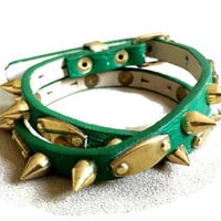 Women's green double wrap layered gold spiked studded bracelet cuff, green wristband arm cuff wrap bracelet.