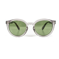 Clear Gray Round Sunglasses, Green lens