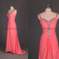 floor length chiffon prom dresses with train / cheap elegant evening gowns on sale /unique v-neck dress for party / best holiday dresses