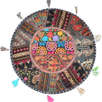 """17"""" Patchwork Round Floor Pillow Cushion in Black round embroidered Bohemian Patchwork floor cushion pouf Vintage Indian Foot Stool ottoman"""