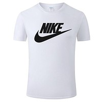 NIKE 2019 new thin section loose round neck half sleeve t-shirt White