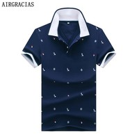 AIRGRACIAS Brand Clothing Polo Shirt Printed Casual Polo Homme For Men Tee Shirt Tops High Quality Cotton Slim Fit