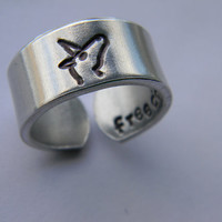 licorn message inside freedom 3/8 inch wide aluminum ring cuff style