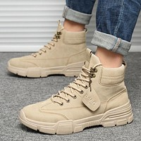 Mazefeng Men Tactical Military Army Boots Breathable Leather Mesh High Top Casual Desert Work Shoes Mens SWAT Ankle Combat Boot