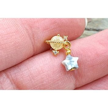 Golden Saturn and Star Stud Cartilage Earring Piercing 16g