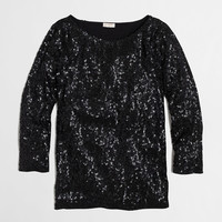 Factory three-quarter sleeve draped sequin tee : Knits & Tees | J.Crew Factory