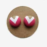 Pink White Gold Chevron Fabric Earrings // Fabric Button Earrings // Pink and Gold Chevron // Spring Fashion // Mothers Day // Summer Trends