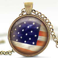 American Flag Necklace, 4th of July Jewelry, Vintage Style US Flag Pendant, Patriotic Charm (756)