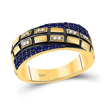 14k Yellow Gold Round Blue Sapphire Diamond Band Ring 5/8 Cttw