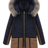 Navy Woolen Paneled Hooded Parka Coat - Choies.com