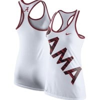 Nike Women's Alabama Crimson Tide White Warp Dri-Blend Performance Tank Top