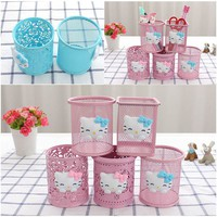 Hello Kitty  Hollow Pen Pencil Holder Desktop Pen Storage Box Metal Pen Holder Blue Pink Cute Student Office Organizer D